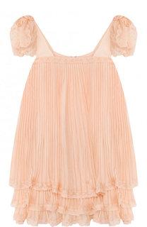 Шелковое платье свободного кроя с плиссировкой Chloé