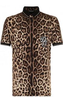 Хлопковое поло с леопардовым принтом и короткими рукавами Dolce & Gabbana