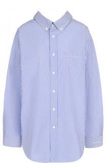 Хлопковая блуза свободного кроя в полоску Balenciaga