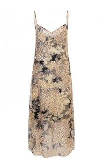 Шелковое платье-миди свободного кроя Dries Van Noten