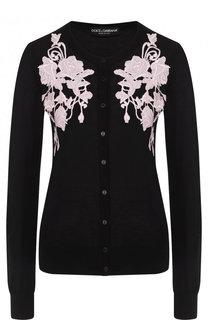 Однотонный кашемировый кардиган с круглым вырезом Dolce & Gabbana