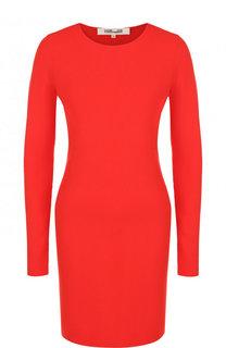 Однотонное мини-платье с длинным рукавом Diane Von Furstenberg
