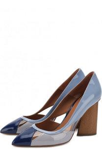 Кожаные туфли на фигурном каблуке Emporio Armani