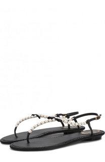 Кожаные сандалии с жемчужинами и бантом Rene Caovilla