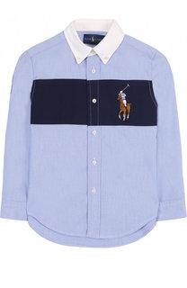 Рубашка из смеси хлопка и полиамида с воротником button down и контрастной отделкой Polo Ralph Lauren