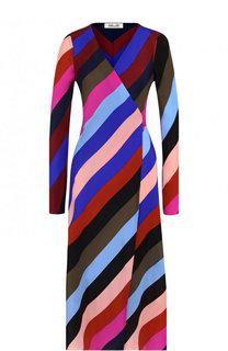 Шелковое платье с запахом в контрастную полоску Diane Von Furstenberg