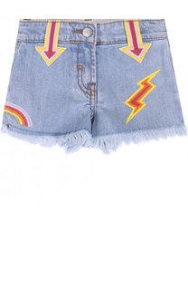 Джинсовые шорты с вышивкой и бахромой Stella McCartney