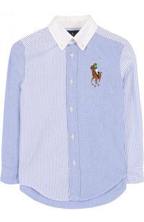 Комбинированная рубашка из смеси хлопка и полиамида с воротником button down Polo Ralph Lauren