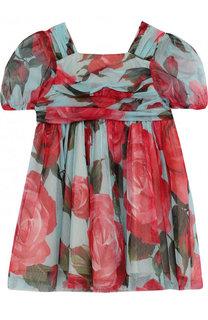 Мини-платье свободного кроя из хлопка и вискозы с принтом Dolce & Gabbana