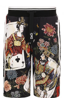 Хлопковые шорты свободного кроя с принтом Dolce & Gabbana