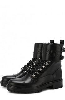 Высокие кожаные ботинки на шнуровке с молнией Balmain