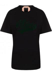 cef9b6467d3e Хлопковая футболка с круглым вырезом и надписью No. 21