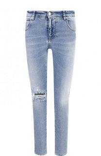 Укороченные джинсы-скинни с потертостями Two Women In The World
