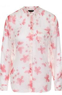 Полупрозрачная шелковая блуза с принтом Emporio Armani