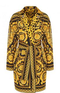 Пальто из смеси хлопка и шелка с принтом и поясом Versace