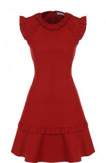 Приталенное мини-платье с оборками REDVALENTINO