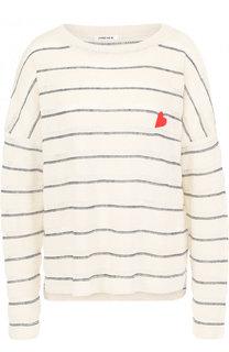 Льняной пуловер свободного кроя с круглым вырезом 5PREVIEW