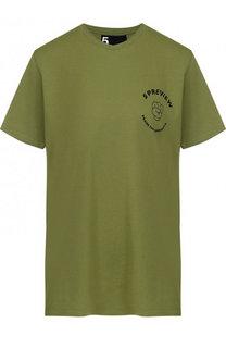 Хлопковая футболка с круглым вырезом и надписью 5PREVIEW