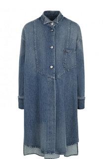 Джинсовое пальто свободного кроя с потертостями Mm6