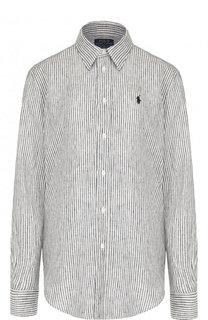 Льняная блуза прямого кроя в полоску Polo Ralph Lauren
