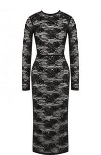 Приталенное кружевное платье-миди с длинным рукавом Dolce & Gabbana