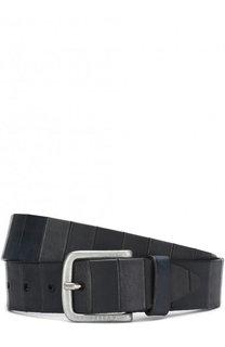 Кожаный ремень с тиснением и металлической пряжкой Baldessarini