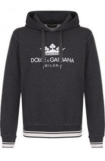 Хлопковое худи с логотипом бренда Dolce & Gabbana