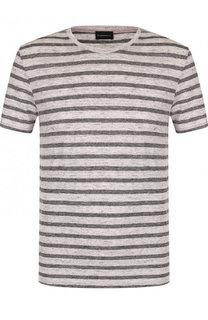 Льняная футболка в контрастную полоску Baldessarini