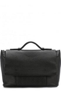 Кожаный портфель с клапаном Giorgio Armani