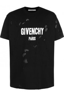 Хлопковая футболка свободного кроя с отделкой Givenchy