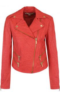Кожаная куртка с косой молнией MICHAEL Michael Kors