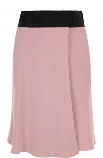 Шелковая мини-юбка с контрастным поясом Giorgio Armani