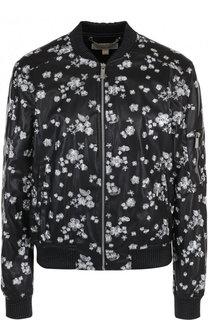 Кожаная куртка на молнии с декоративной отделкой MICHAEL Michael Kors