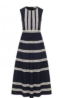 Приталенное хлопковое платье-миди REDVALENTINO