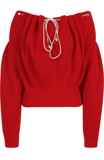 Хлопковый пуловер фактурной вязки с открытыми плечами CALVIN KLEIN 205W39NYC
