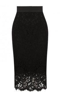 Кружевная юбка-миди с широким поясом Dolce & Gabbana