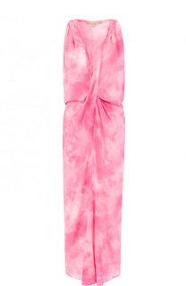 Шелковое платье-миди с принтом и драпировкой Michael Kors Collection