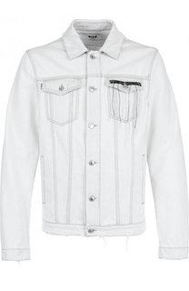 Джинсовая куртка на пуговицах с потертостями MSGM