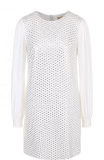 Мини-платье из вискозы с вышивкой бисером MICHAEL Michael Kors
