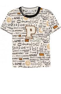 Хлопковая футболка с принтом и нашивкой Dolce & Gabbana
