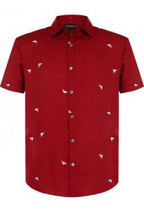 Рубашка из вискозы с короткими рукавами Emporio Armani