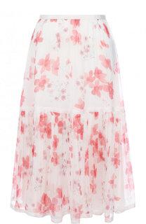 Шелковая юбка-миди с цветочным принтом Emporio Armani