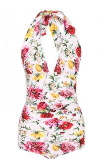 Слитный купальник с ярким цветочным принтом Dolce & Gabbana