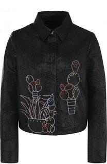 Кожаная куртка с отложным воротником и вышивкой Emporio Armani