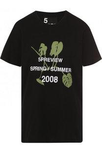 Хлопковая футболка свободного кроя с круглым вырезом 5PREVIEW