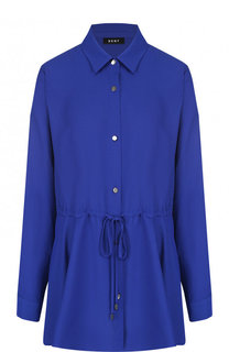 Однотонная приталенная блуза из полиэстера DKNY