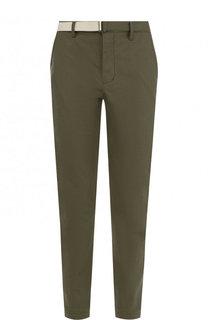 Хлопковые брюки прямого кроя с поясом Sacai