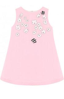 Мини-платье из полиэстера и хлопка А-силуэта с плиссированной вставкой на спине Simonetta