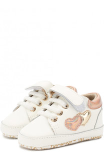 Кожаные кроссовки на шнуровке с застежками велькро MICHAEL Michael Kors