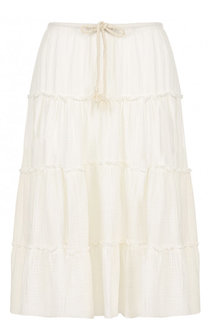 Хлопковая юбка-миди с эластичным поясом See by Chloé